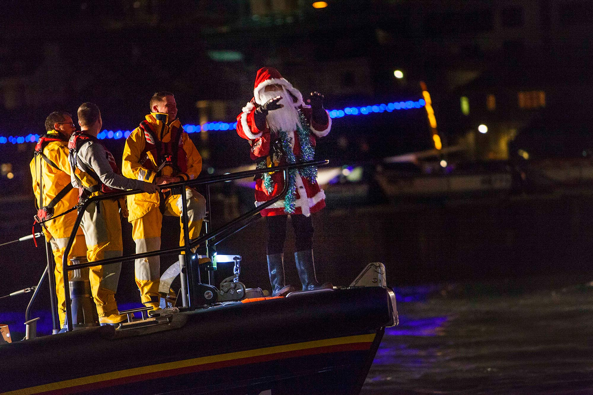 St Ives in December Father Christmas and the RNLI